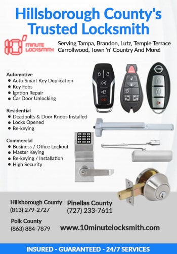 10 Minute Locksmith® | 10% OFF All Our Services in Tampa